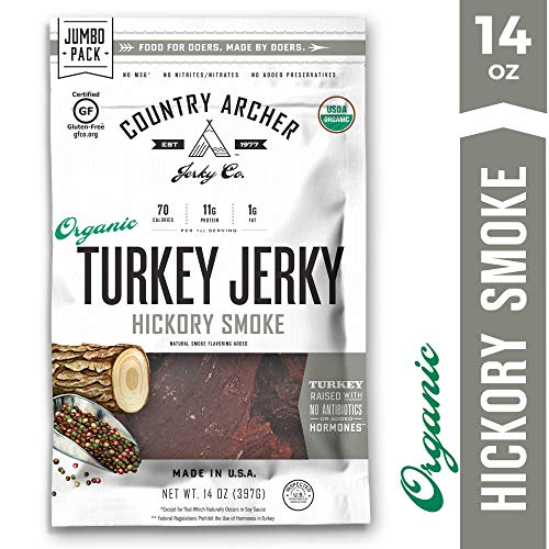 Organic Hickory Smoke Turkey Jerky by Country Archer | Antibiotic Free | Gluten Free | 14 Ounce