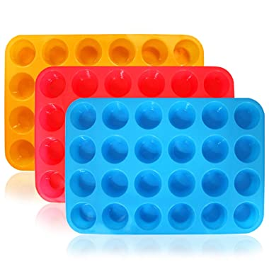DanziX 3 Pack Silicone Mini Muffin Pan, Silicone Muffin Tins Baking Molds, 24 Cups Silicone Mold Cupcake Baking Pan (Orange, Red, Blue)