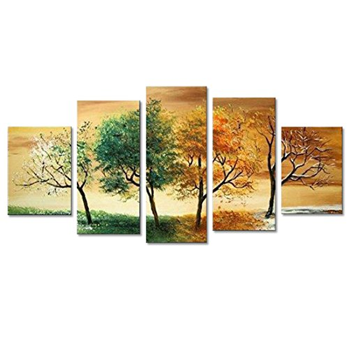 FLY SPRAY 5-Piece 100% Hand-Painted Oil Paintings Panels Stretched Framed Ready Hang Trees Seasons Spring Summer Fall Winter Modern Abstract Canvas Living Room Bedroom Office Wall Art Home Decoration by FLY SPRAY