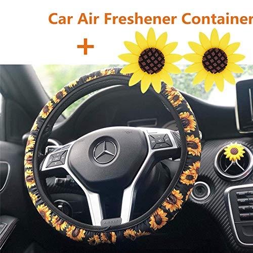 Sunflower Steering Wheel Cover,Safe Non Slip Neoprene Material Stretch-on Fabric Steering Wheel Cover Universal Fit (Option A) (Neoprene Steering Wheel Cover)