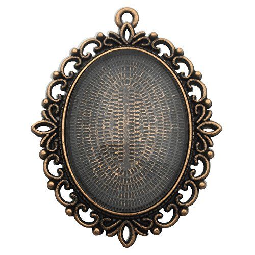 6 Sets 40x30mm Oval Clear Glass Cabochon Covers and Antique Copper Alloy Blank Pendant Trays Cabochon Frame Base Settings (Antique Copper C8035)