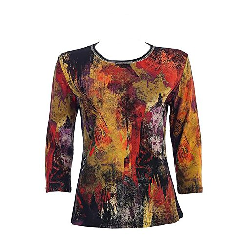 "Jess & Jane Cotton Tee Shirt - ""Fall Foliage"" in Black (X-Large)"