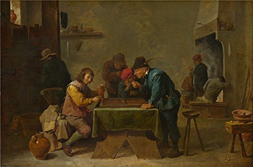 Oil Painting 'David Teniers The Younger - Backgammon Players,probably 1640-5', 10 x 15 inch / 25 x 38 cm , on High Definition HD canvas prints is for Gifts And Basement, Bed Room And Gym Decoration -