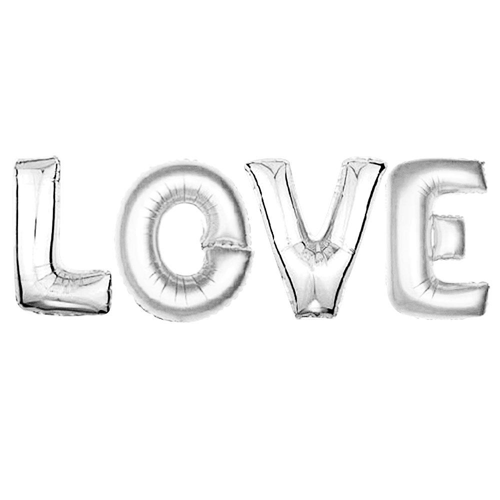 Gosear Globos para Fiestas de LOVE 32 Inch para Fiestas Infantiles Plata