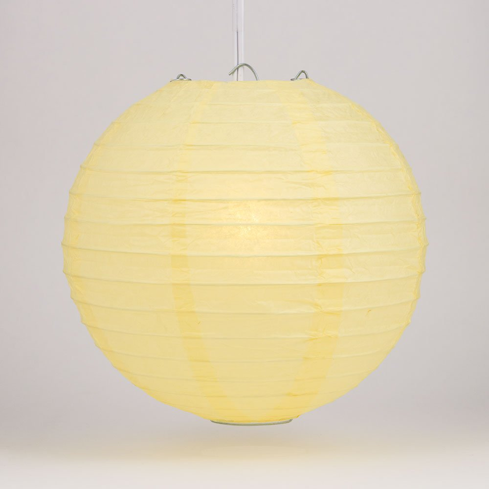 Quasimoon PaperLanternStore.com 12'' Lemon Yellow Chiffon Round Paper Lantern, Even Ribbing, Hanging Decoration