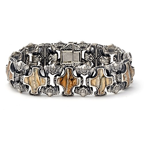 William Henry Men's 9 Inch Silver and Inlaid Fossil Woolly Mammoth Tooth  BR5S MTBR Shield Link Bracelet
