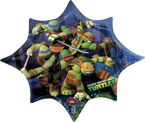 [LoonBallon 35 Inch Teenage Mutant Ninja Turtle Balloon, Medium Shape, 5 Pieces] (Ninja Turtle Face Painting)