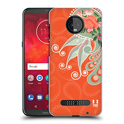 Paisley Chic (Head Case Designs Orange Chic Paisley Hard Back Case for Motorola Moto Z3 / Z3 Play)