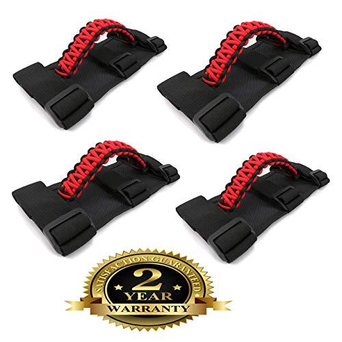 BOXATDOOR 4 Pieces Triple Strap Roll Bar Grab Grip Handles Black for Jeep Wrangler YJ TJ JK JKU 1987-2017 ()