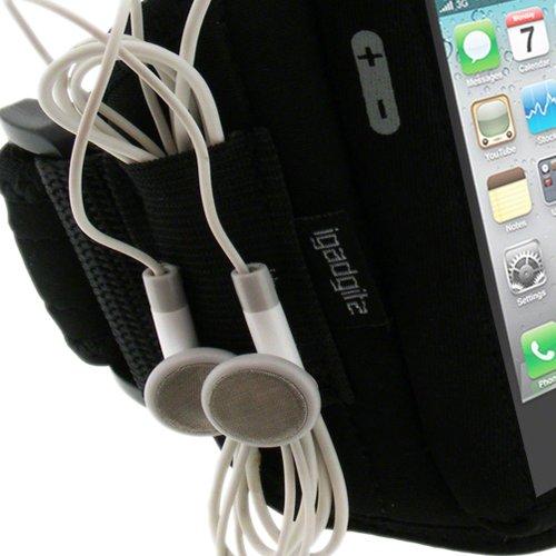 igadgitz U0422 Fascia Braccio Armband Sport Corsa Fitness per Apple iPhone 4 HD & iPhone 4S 16GB 32GB 64GB - Nero