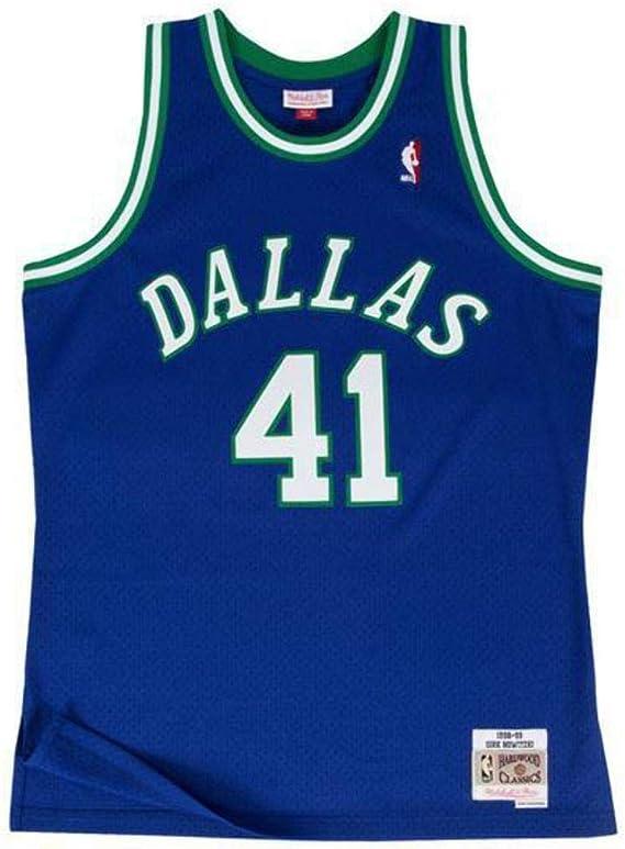 Mitchell /& Ness Dallas Mavericks 41 Nowitzki White Replica Swingman Jersey 2.0