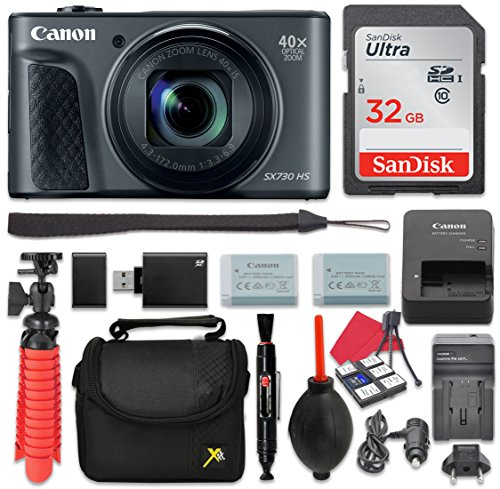Canon PowerShot SX730 Digital Camera 40x Zoom Lens + 32GB SD + Spare Battery + Complete Accessory (Canon Powershot Sd Series)