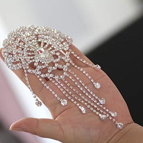 Pukido Flower Shape Crystal Clear Rhinestone Applique Rhinestone Shoulder Chain with Tassel Wedding Dress Decoration DIY sew on ()