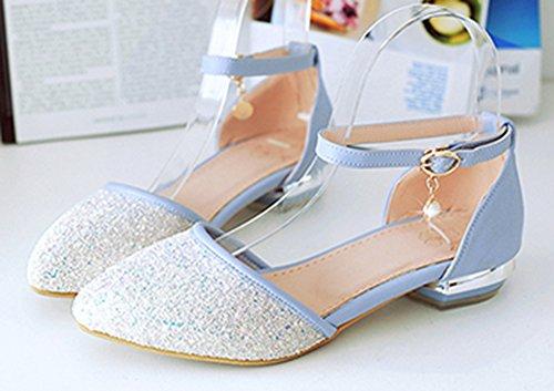Easemax Womens Dressy Sequins Ankle Strap Low Heels Sandals Blue phATwE8gdE
