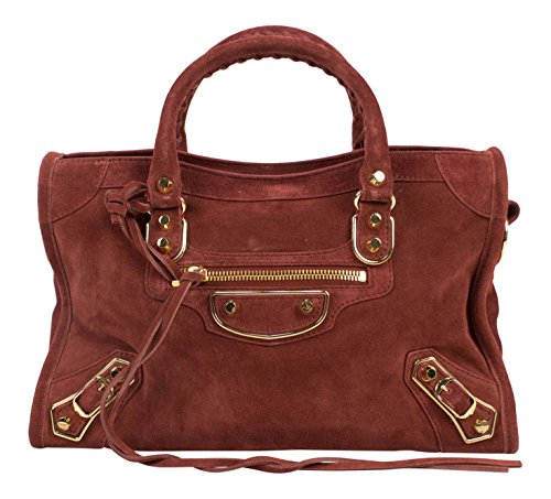 Balenciaga Brown Suede Leather Metallic City Small AJ Satchel Bag