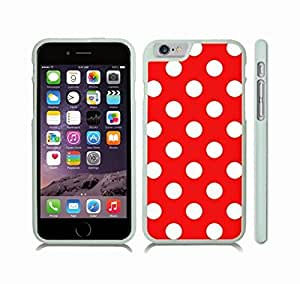 Case Cover For Apple Iphone 6 Plus 5.5 Inch with White Polka Dots on Red Snap-on Cover, Hard Carrying Case (White)