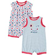 Little Me Baby Boys' and Baby Girls' Best Beginnings 2-Pack Romper (Flamingo, 3 Months)