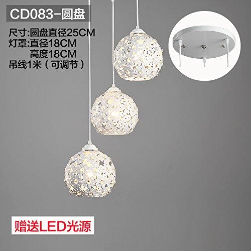 Kang @ Nouveau Suspension Leuchten Industrial Wind créative 3 Tête rougeary