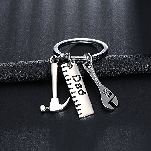 Men Gift Dad Ruler Wrench Hammer Key Chain Ring Tool Charms Pendant My Dad Can Fix Anything Father's Day Photo #4