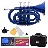 Mendini B-Flat Pocket Trumpet, Blue Lacquered and Tuner, Case, Stand, Pocketbook, MPT-BL+SD+PB+92D