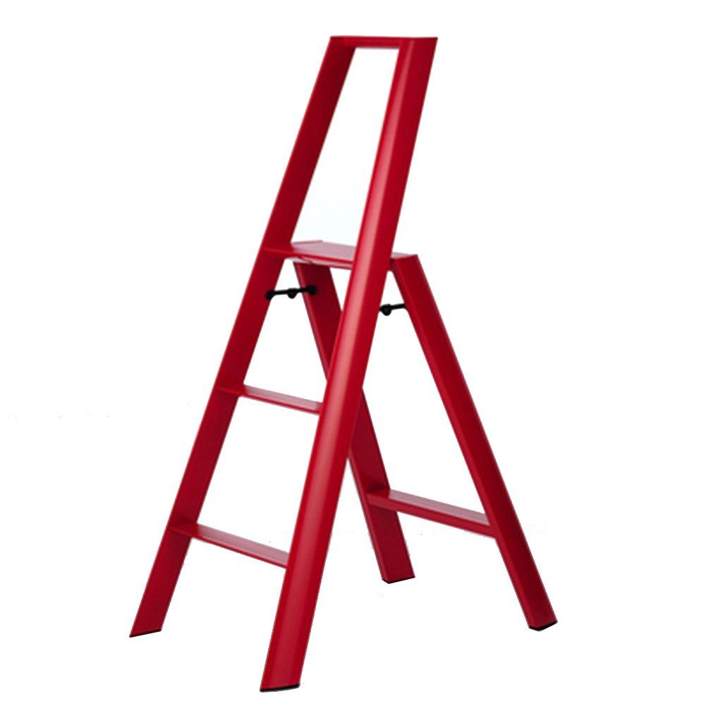 PENGFEI 折りたたみステップ折り畳み式はしご階段 アルミニウム合金 ポータブル 自宅 肘掛け付き 高く登る ベーキング塗料 3ステップ 4色 52.9x72.8x122.3CM 脚立 踏み台ステップ チェア (色 : 赤) B079FTKDPF 赤 赤