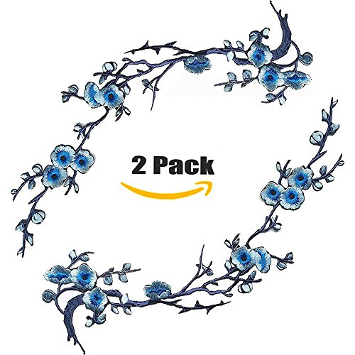 Embroidered Appliques Patch Flower Iron (Blue 2) Bird Embroidered Iron