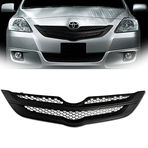 - VXMOTOR for 2006/2007-2009 Toyota Yaris 4D Sedan Matte Black Honeycomb Mesh Front Hood Bumper Grill Grille Conversion ABS