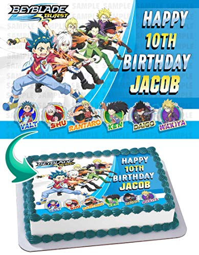 Price comparison product image Beyblade Burst Edible Cake Image Topper Personalized Birthday 1 / 4 Sheet Custom Sheet Party Birthday Sugar Frosting Transfer Fondant Image ~ Best Quality Edible Image for cake BB1
