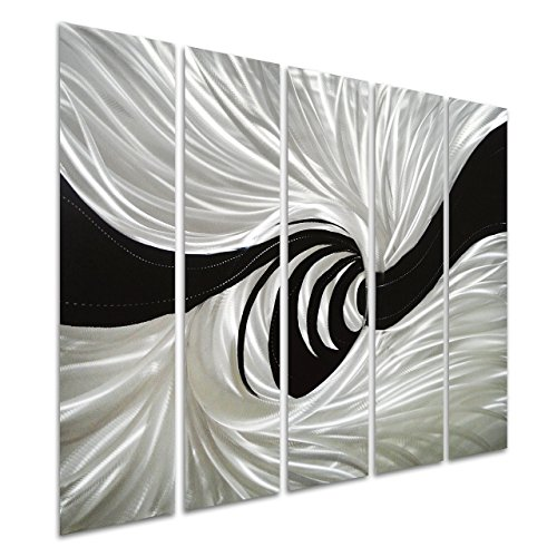Silver Leaves Wall Art (Pure Art Silver Worm Hole - Abstract Metal Wall Art Decor - Black and Silver Hanging Sculpture of 5 Panels - Modern Design of 34