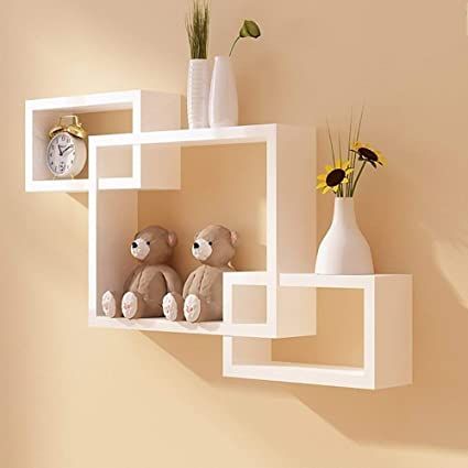 Fabulo Wooden Intersecting Wall Mounted Shelf Rack Decorative Wall Shelves For Living Room Bedroom Kitchen Floating Wall Rack Set Of 3 White Amazon In Electronics