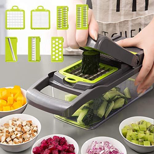 SSJIA Picador de Verduras Cortador de Verduras multifunción Gadgets de Cocina Prensa de ajo Cuchilla de Acero Pelador de…