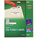 Avery® Purple File Folder Labels for Laser and Inkjet Printers with  TrueBlockTM Technology, 2/3 inches x 3-7/16 inches, Pack of 750 (5666)