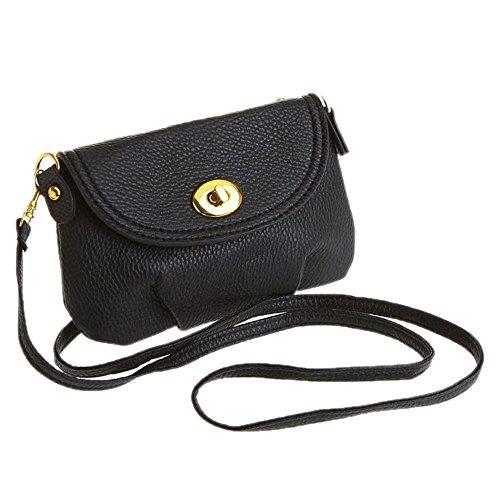 DELEY Frauen Vintage Europa Stil Mini Hobo Tote Handtasche Schultertasche Umhängetasche Schwarz