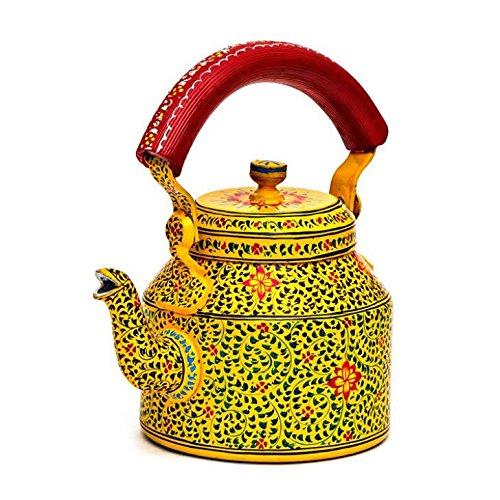 Indian Traditional Hand Painted Steel Tea Kettle Tea Pot Mug