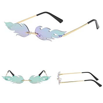 Amazon.com: Yeawooh Flame - Gafas de sol unisex, sin bordes ...
