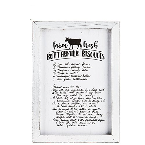 Buttermilk Bisquit Recipe Wood Wall Decor Rustic, aged appearance. kitchen or cafe farmhouse old-fashioned utensils, charming canisters, mason jar accents,
