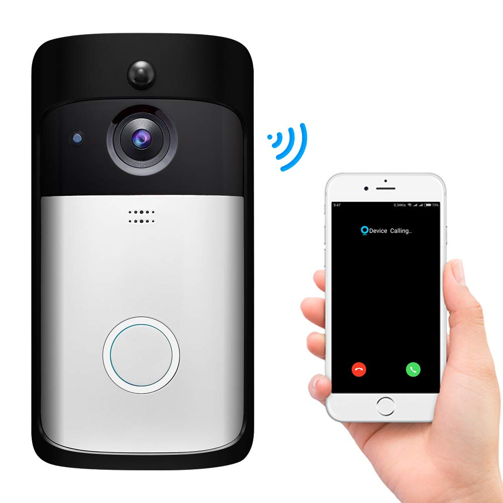 Video Doorbell 2,Pro WiFi Doorbell Camera Wireless Smart Doorbell HD 720P with PIR Motion Detection Free Cloud Service 2 Batteries Night Vision for Home Security iOS Android System ubell Phone app