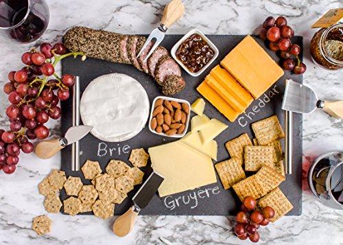Slate Cheese Board Set | 9 pcs - 16' x 12' Serving Tray, Knife Set with Ceramic Bowls + Soapstone Chalk