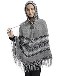 Women's Alpaca Wool Hooded Poncho Cape Knit Yarn Coat Llamas Design