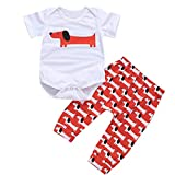 Baby Boy 2Pc Outfit, 2019 Newborn Kids Summer Cartoon Print Romper Jumpsuit Bodysuit Pant for 0-2years (6-12 Months, White)