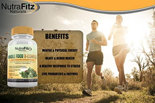 NutraFitz Naturals B Complex Vitamins - B Vitamins Whole Food Supplement, B12 Methylcobalamin, B1, B2, B3, B5, B6, B7, B9 - For Stress, Energy and Immune Support, Vegan, 120 Capsules