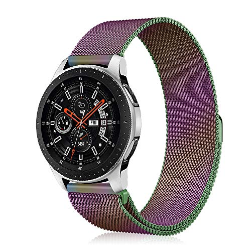 Fintie Galaxy Watch 46mm / Gear S3 Frontier Classic Band [Small], 22mm Quick Release Stainless Steel Metal Replacement Smartwatch Bracelet Wrist Strap with [Unique Magnet Lock] for Men Women - Rainbow