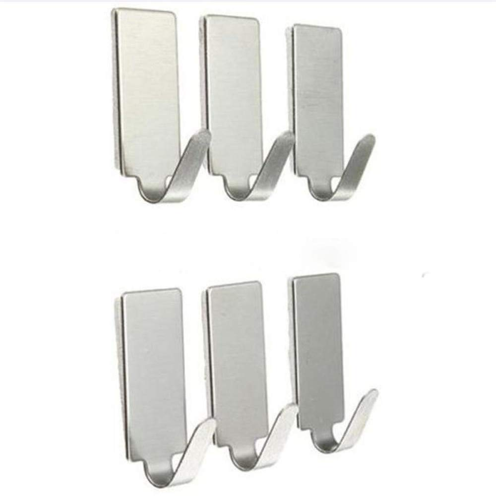 6PCS Self Adhesive Home Kitchen Wall Door Stainless Steel Holder Hook Hanger by Traceless Strong Adhesive Hook (Image #3)
