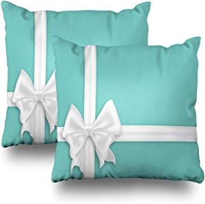 LALILO Set of 2 Throw Pillow Covers, White Bow Silk Ribbons Elegant Satin Bow Turquoise Blue Gift Double-Sided Pattern Sofa Cushion Cover Couch Decoration Home Gift Bed Pillowcase 18x18 inch
