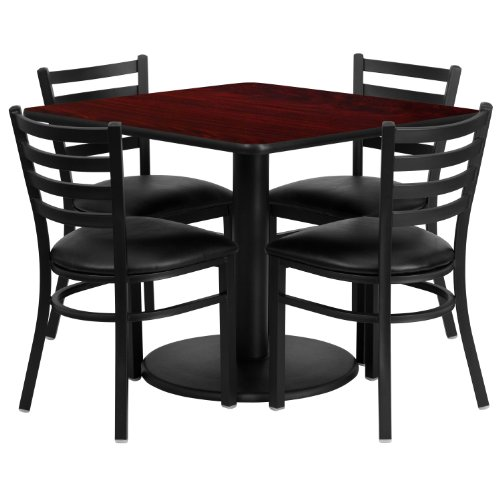 "Flash Furniture RSRB1014-GG 36"" Square Mahogany Laminate Table Set with 4 Ladder Back Metal Chairs with Black Vinyl Seat"