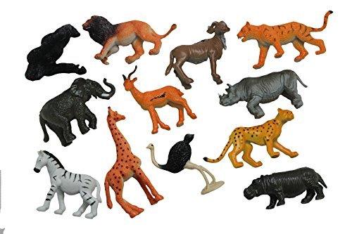 Safari Animal Figurines - Mini Animal Action Figures Replicas - Miniature Jungle Zoo Toy Animal Playset