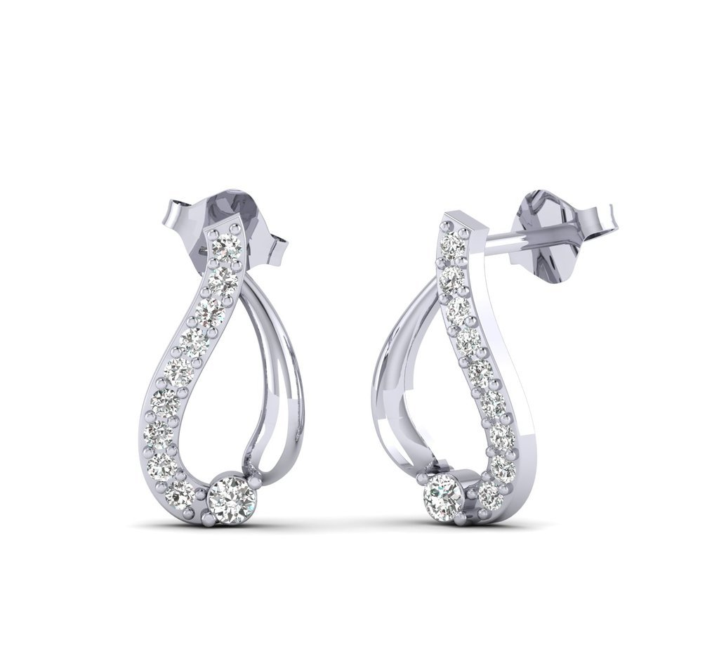 Fehu Jewel Women's 0.20ct Natural Diamond Fine Earrings White Gold Earrings Over Sterling Silver Gifts for Women