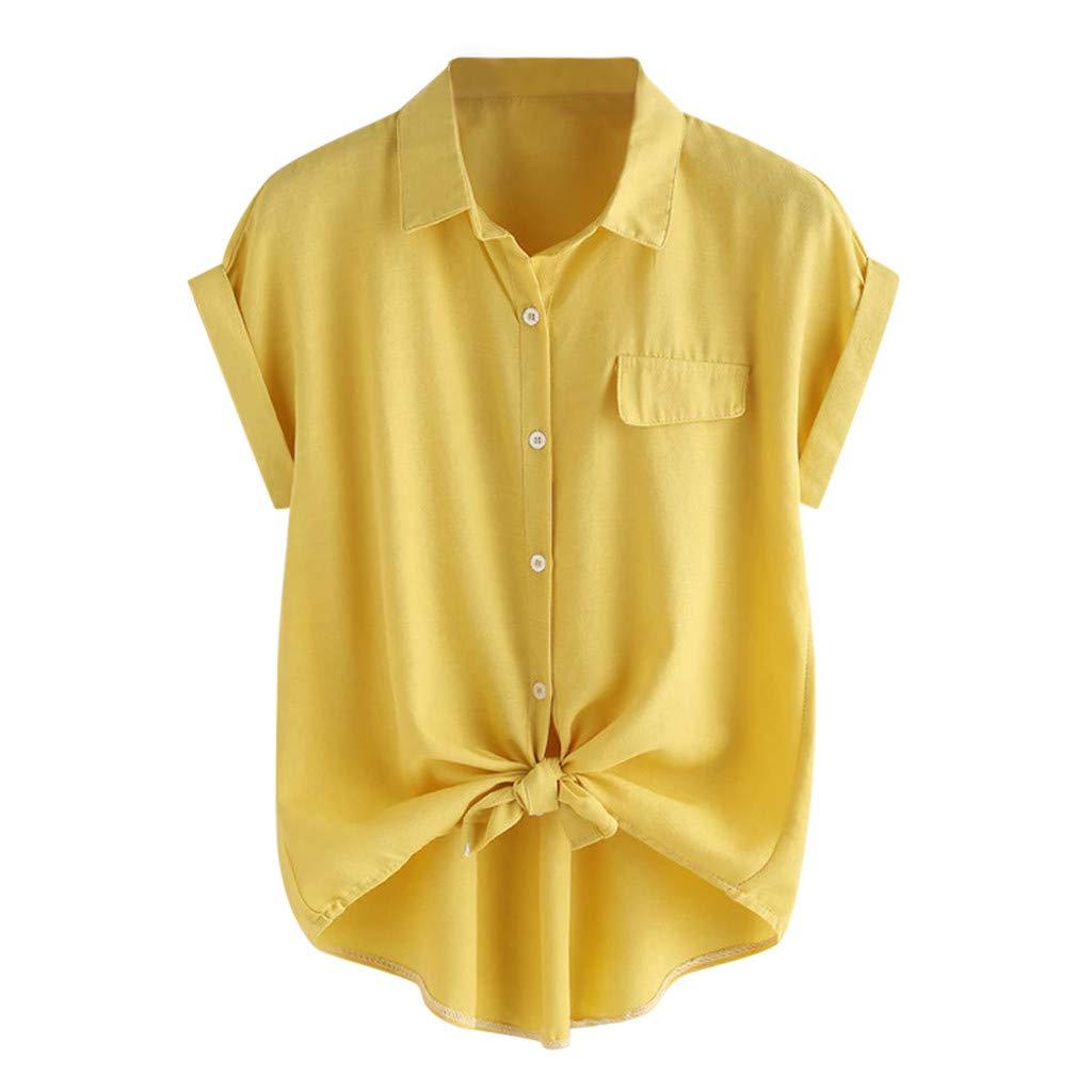 Beladla Camicetta Donna Maniche Corte Collo V Tinta Unita Bluse Causal Moda Camicia Tops Estate Maglietta con Pulsante Bavero Crop Top Ragazza Felpa Pullover
