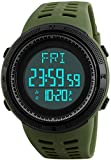 Mens Military Digital Sport Watch Outdoor Electronic Army LED Back Light Display Alarm Pedometer 2Time Lock 50M Water Resistant for Boy -& Teens (Army Green)
