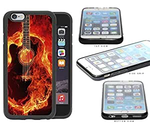Acoustic Guitar Burning With Fire Flames Rubber Silicone TPU Cell Phone Case Apple iPhone 6
